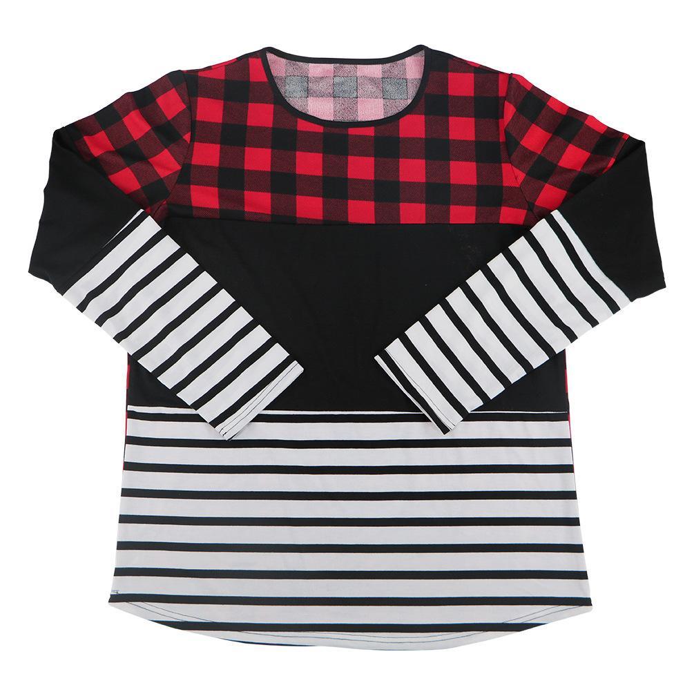 Festival de Navidad camiseta de manga larga de moda de tela escocesa del remiendo de la raya de la camiseta de las camisetas de las mujeres