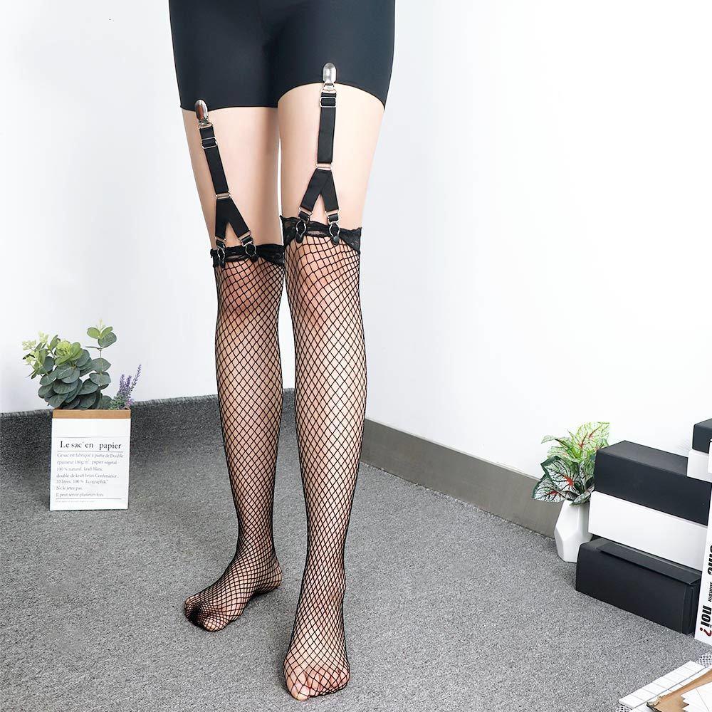 2 stücke Mode Bein Hosenträger Riemen Frauen Elastische Strümpfe Polyester Gürtel Sexy Metall Clips Strumpfband