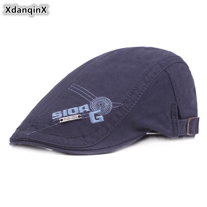 XdanqinX Мужского Письма Вышивки Hat хлопок Берет Осень Женской Tongue Cap Snapback Cap Регулируемого размер Указано Hip Hop Hat