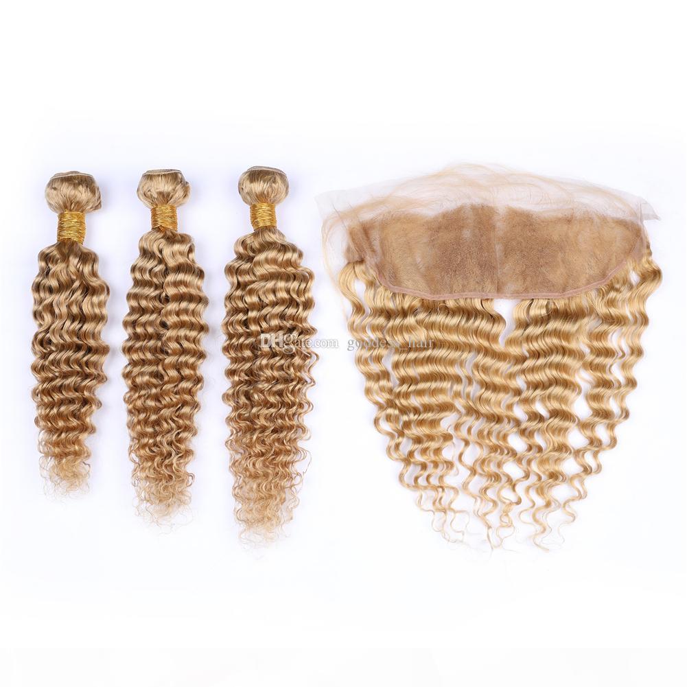 Morango loira profunda onda pêlos weaves com laço forntal cor pura 27 cabelo encaracolado profundo com orelha a orelha frontal 370g
