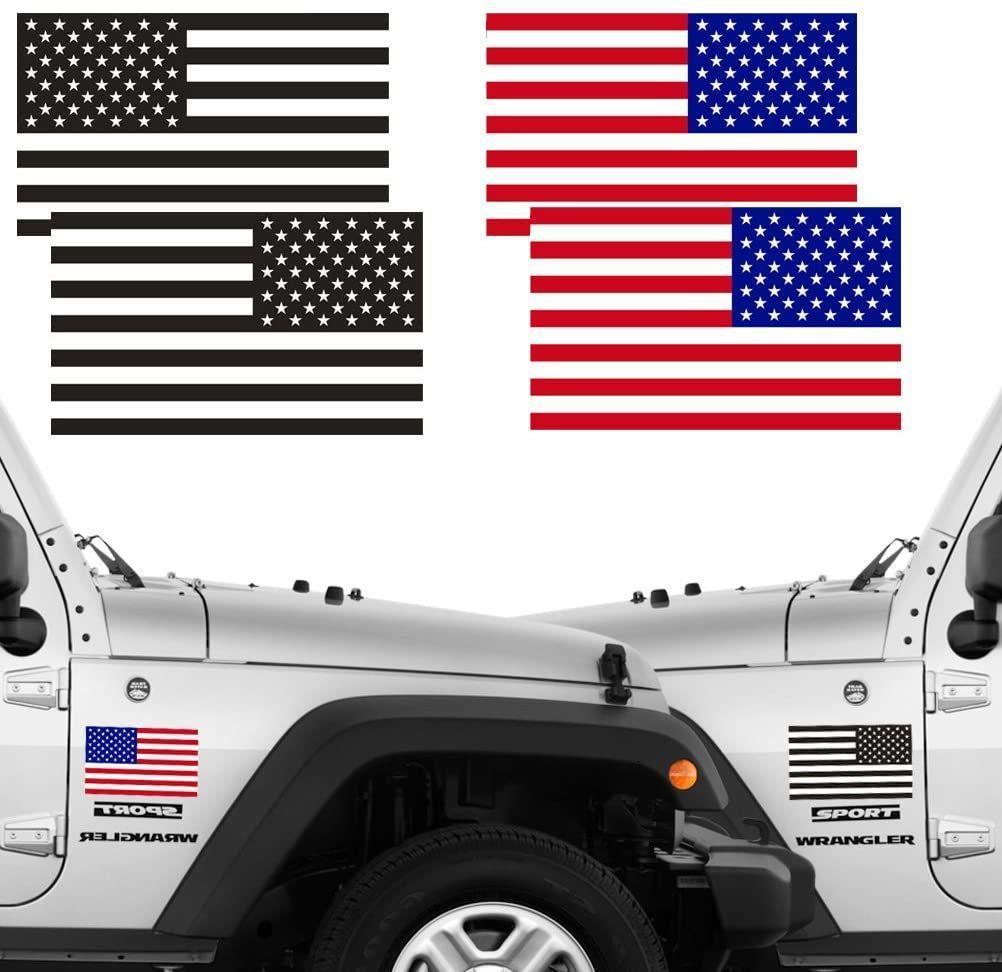 """Reflectante Subdued bandera americana pegatinas 2 pares Bundle 3"""" x 5"""" táctico Bandera inversa EE.UU. calcomanía para SUV, Casco Duro, del vinilo del coche"""