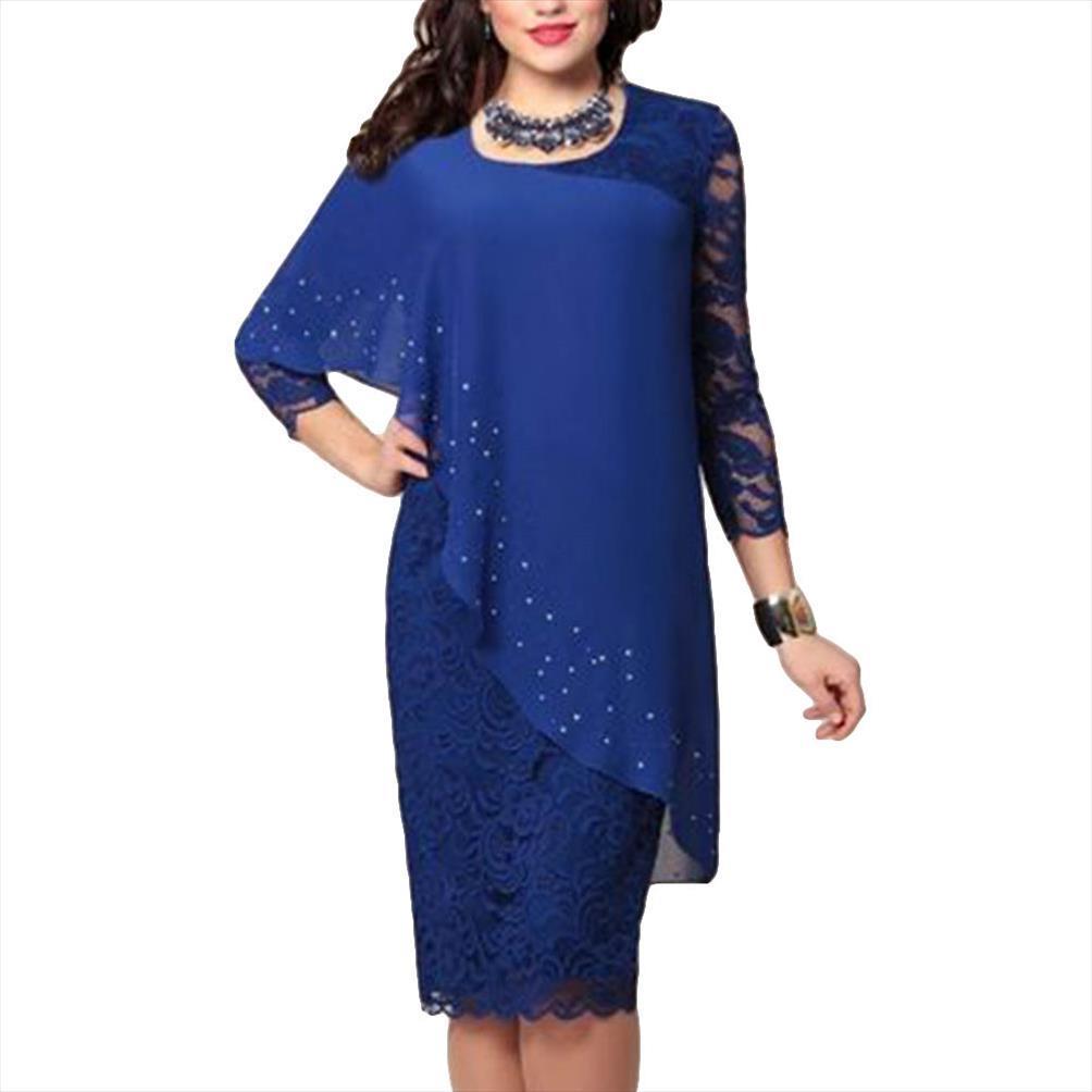 Женщины платье Формальная 2020 Сплошной цвет Женщины платье двухслойный 3 4 рукава вокруг шеи Bodyon