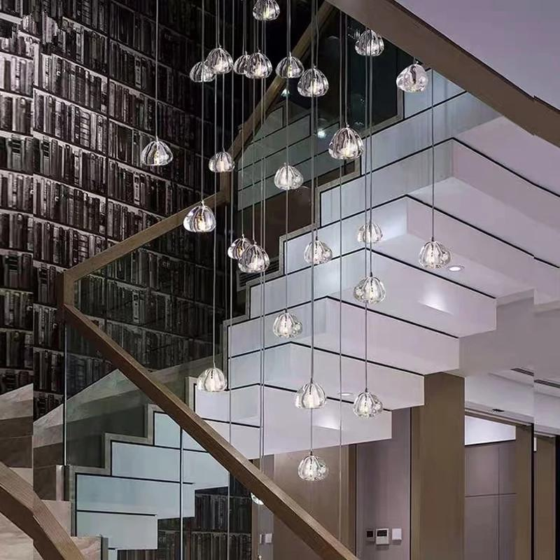 Lâmpada de luxo moderna Lâmpada de lâmpada Longa Ajustável Ajustável Aço Pendurado Escadaria Levado Luz de Cristal Luminárias Casa