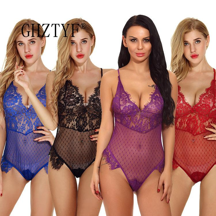 GHZTYF érotique Sous-vêtements Bodysuit Lingerie Sexy Vêtements pour femmes Stripper transparent dentelle Backless demi-nuit de poitrine