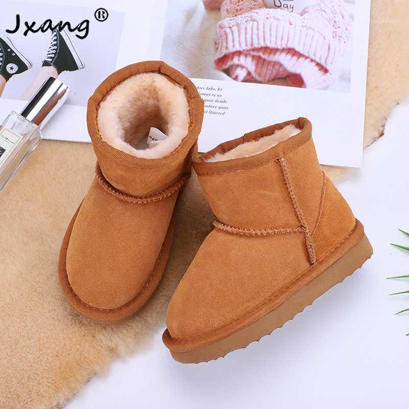 JXANG 2020 Nuevas botas de nieve de lana de cuero genuino niños Botas australianas de alta calidad niños y niñas invierno warm1