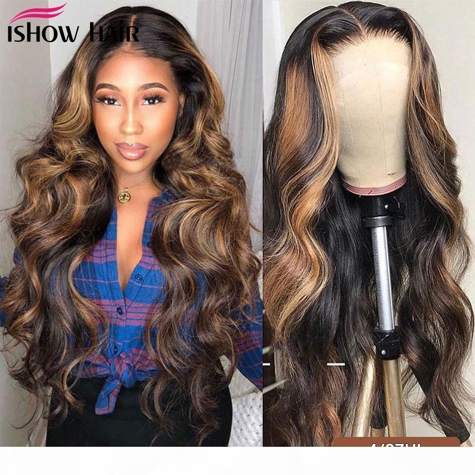 Ishow Hightlight 4 27 Body Wave Human Haare Perücken Omber Farbe T1b 27 13 * 1 Menschliches Haar Lace Front Perücken vorgeptet 360 Spitzenperücken