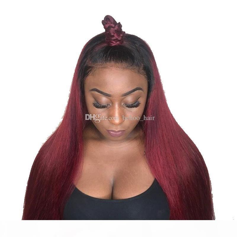 Ombre Burgund Race Glueless Lace Front Perücke Jungfrau Haar Brasilianische Zwei Ton Farbe1b 99j Human Hair Perücke mit Babyhaar
