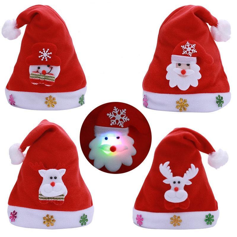 Regalos de Navidad de la lámpara LED Sombrero de Santa rojo Accesorios Decoración de Navidad muñeco de nieve Elk Cap Fiesta de Navidad Año nuevo suministra adulto del niño de Kid Luz
