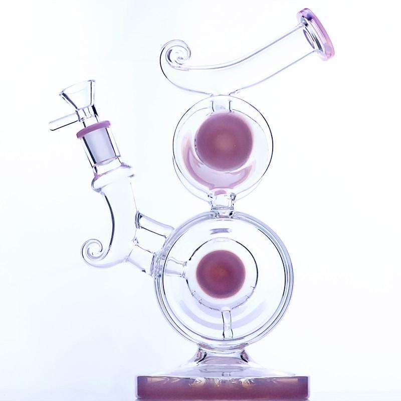 Double Chambler Showerhead Perc Bong con occasione a collo piegato