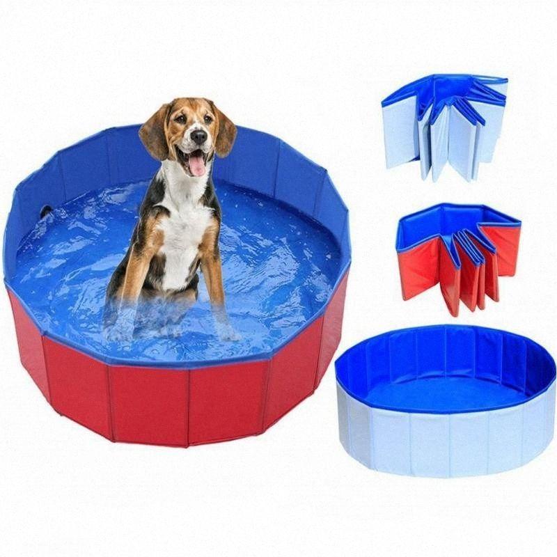 Küçük Köpekler Yüzme Küvet Yaz Pet Havuzu PIv5 # için 2020 2020 Yeni Pet Köpek Kedi Yüzme Havuzu Katlanabilir PVC Yıkama Gölet Büyük Beden Köpek Küvet Yatak