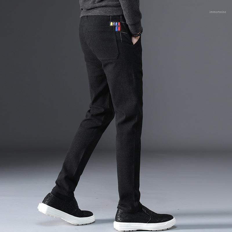 Pantalon pour hommes Fashion Automne Marque Nouveau Pantalon Pantalon long Coton Pantalon Coussin Thermique Casual Hombre Business Homme Slim1