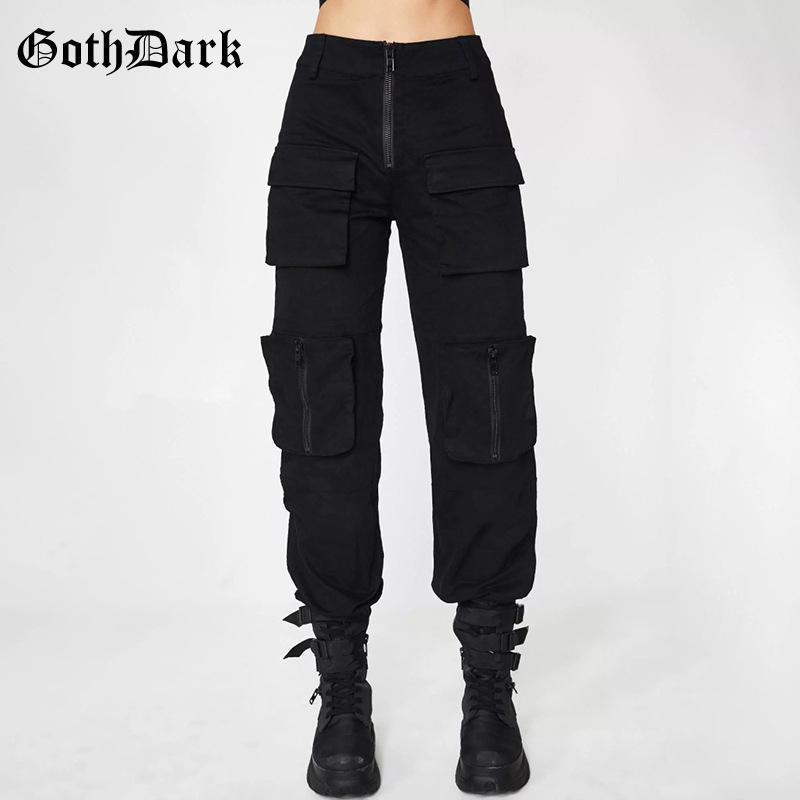 Goth Dark Black Nero Grunge Gothic Pants per le donne Harajuku Punk Patchwork tasche con cerniera Autunno 2021 Fashion Femmina Pantaloni