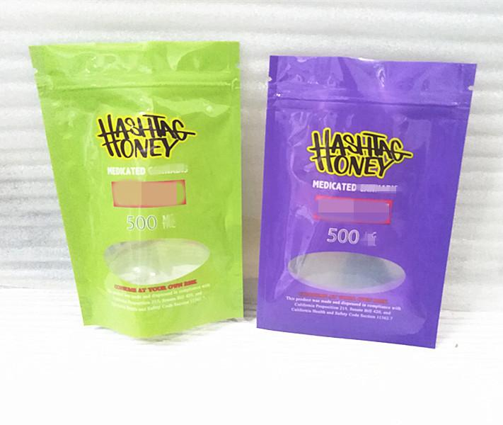 grün, lila, hashtag Honig Resealable Mylar-Beutel Geruch Beweis-Beutel Verpackung Plastiktasche Food Safe Mylar-Speicher-Beutel mit Fenstern arzneimittel