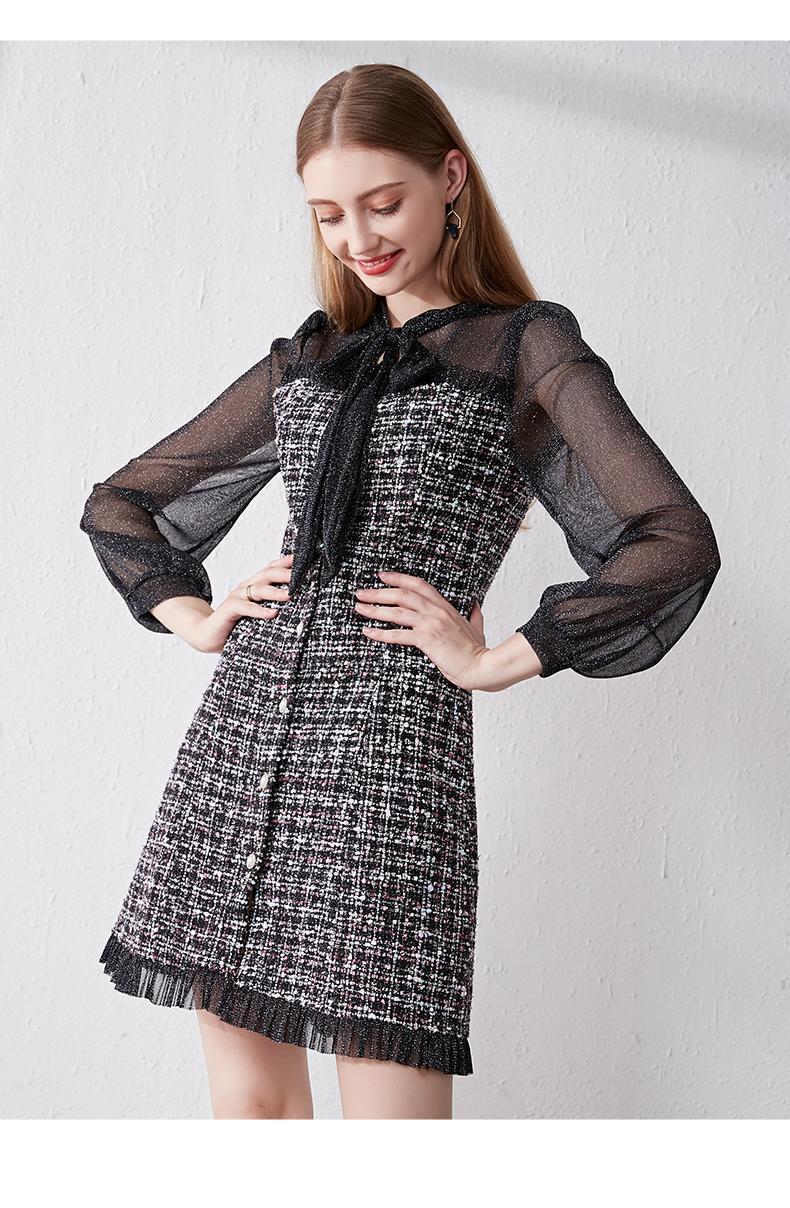 2021 Sonbahar Kış Yeni Vintage Elbiseler Koreli Kadın Zarif Mesh patchwork tüvit elbise Parti Uzun Kollu Pist vestidos