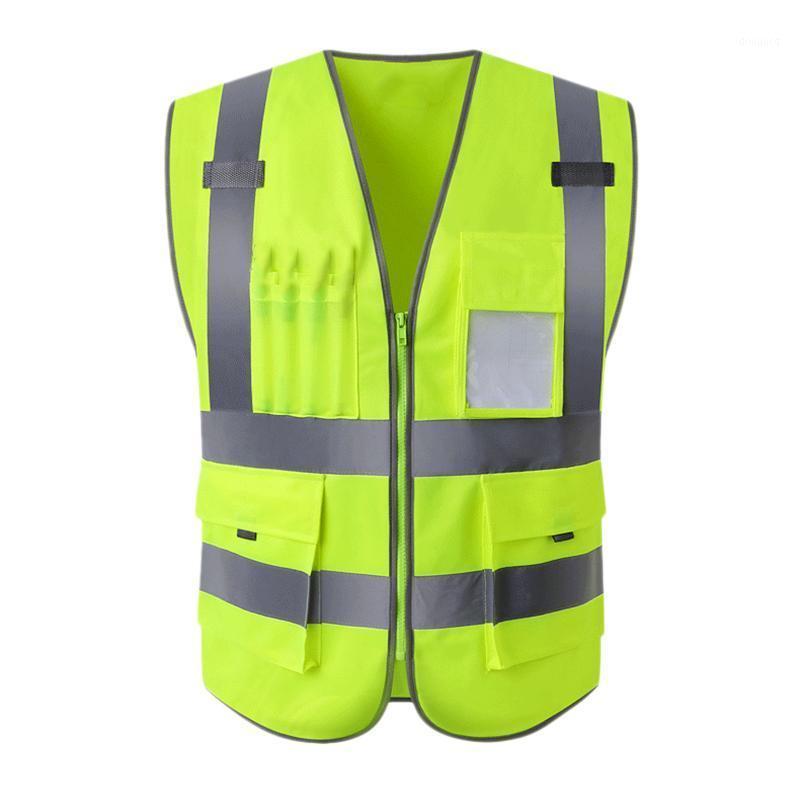 Alta visibilidade Reflexivo de segurança colete colete com multi-bolsos Silk Sn impressão tráfego verde tráfego fluorescente1