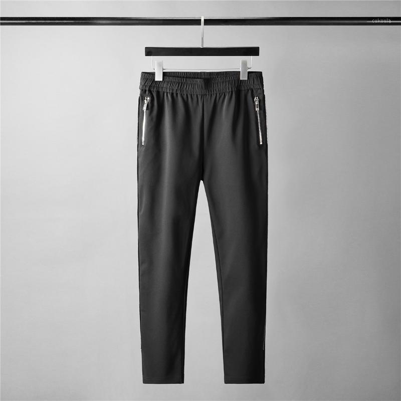 Minglu хлопковые мужские брюки роскошные боковые молния сплошной цвет черные мужские брюки мода Slim Fit Sport Curry Change Black 3XL1