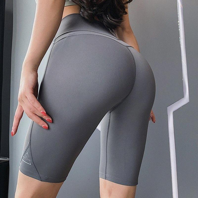 New Yoga Shorts weibliche hohe Taille Bauch Enge Fitness Shorts Quick Dry Fitnesstraining Im Freien Laufen Reiten 97XS #