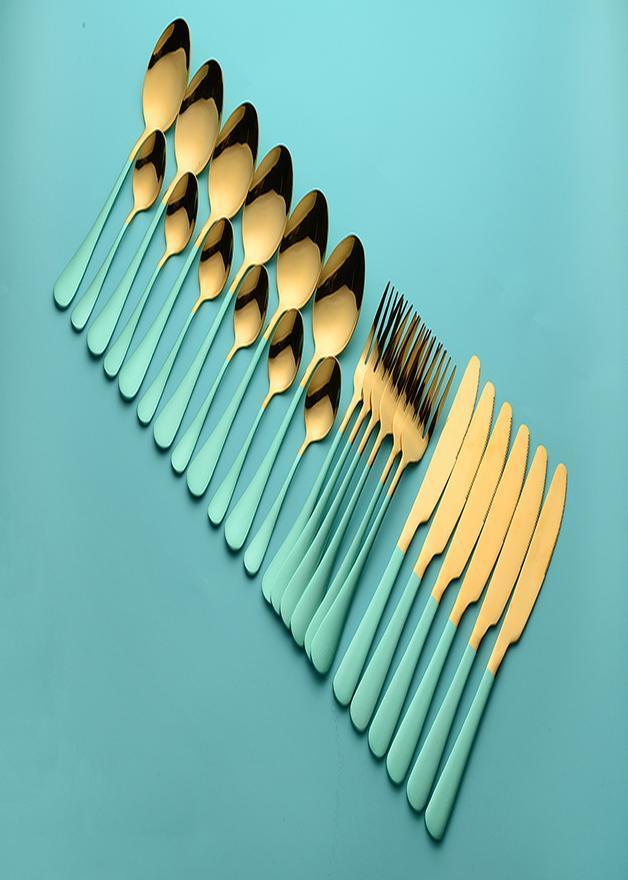Круглосуточная набор столовых изделий из нержавеющей стали Полная черная вилка нож ложки набор ужина Западная посуда Eco дружелюбна H JLleyq
