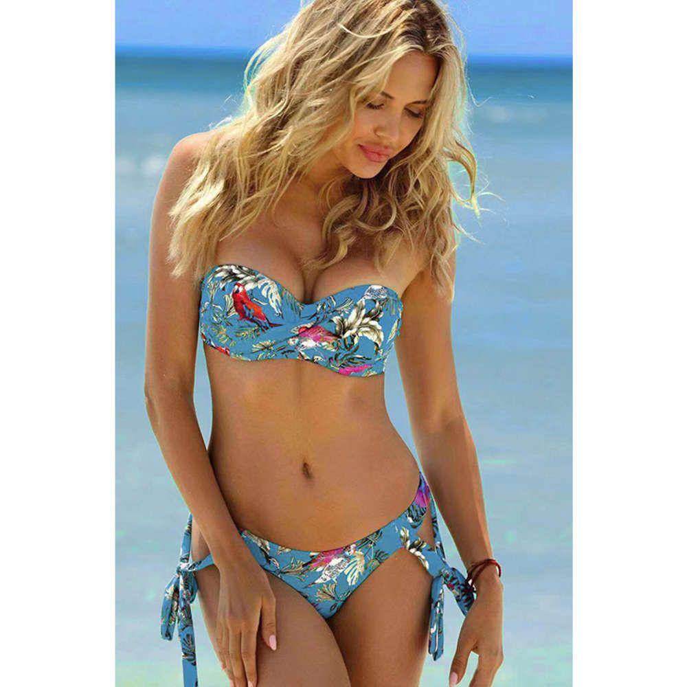 Bikini Sexy Thong Explosión Modelos Europa y Americana Beachwear Espesado Sujetador Push-Ups Traje de baño brasileño