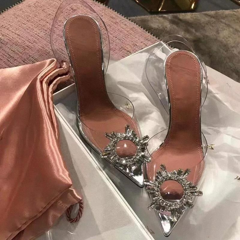 Transparent PVC Sandals Women Pointed Clear Crystal Cup High Heel Stilettos Sexy Pumps Summer Shoes Peep Toe Women Pumps Size 43 #GL2Z