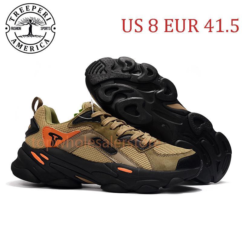 أفضل أشعلية الأزياء مكتنزة 700 أحذية الركض الوحيد الناعمة الأسود الزيتون مجموع البرتقال الولايات المتحدة 8 يورو 41.5 للرجال المدربين