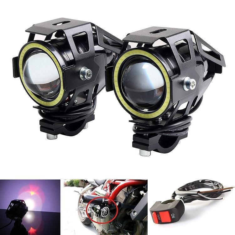U7 led motosiklet far 30W motosiklet led projektör ışığı u7 üniversal motor bisiklet için renkli melek gözlerle açtı