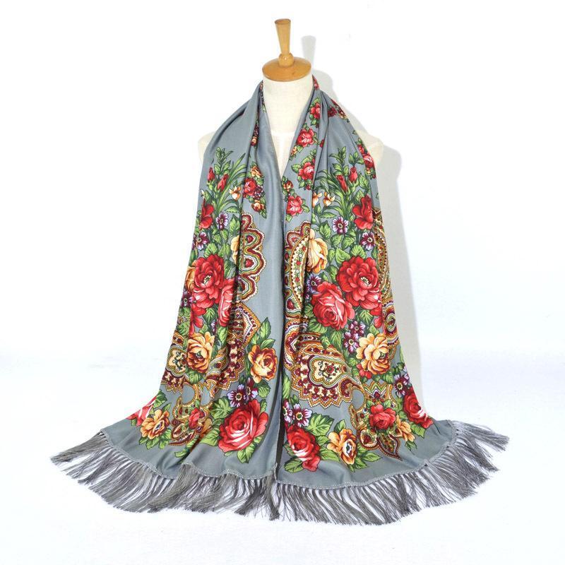 Sciarpe da donna in cotone stampato sciarpa inverno scialle russo lungo bufandas invirio mujer anacardio wrap babushka head stole spagna femminile