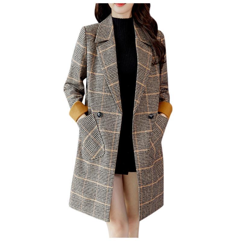 2020 여성 자켓 패션 여성 패션 겨울 자켓 격자 무늬 빈티지 겨울 따뜻한 긴 소매 단추 모직 코트 # 40 %