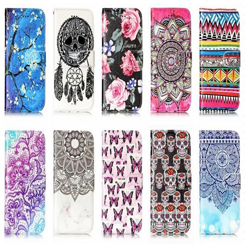 Schädel-Traumfänger-Leder-Mappen-Kasten für Iphone X 8 7 Plus 6 6s Du 5s Touch-6 5 Galaxy Note 8 S9 S8 Blumen-Flip-Abdeckung Id Karten-Beutel-Rahmen