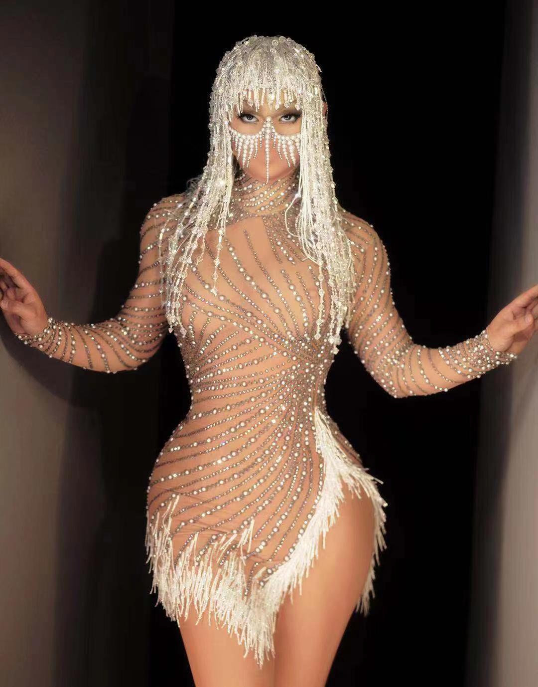 Латинское платье сексуальная сетка прозрачная жемчужная кисточка стрейч щель с длинным рукавом выпускной день рождения вечеринка наряд женщин певица танцор ночной клуб DJ костюм