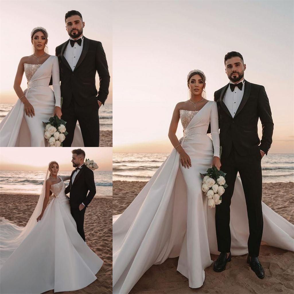 Arabic One Shoulder Mermaid Wedding Dresses with Detachable Train Sequins Satin Bridal Gowns 2021 Designer Wedding Dress