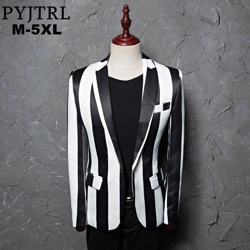 Pyjtrl Marque M-5XL Nouvelle marée Hommes Noir Blanc Blanc Zèbre Blazer Blazer Scène Masculin Masculino Slim Fit Fashion Casual Veste 201113
