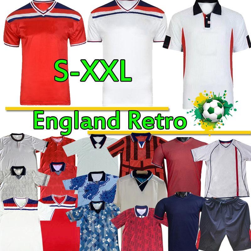 maillots de football rétro classique équipe nationale Angleterre BECKHAM GASCOIGNE OWEN GERRARD 1982 89 90 92 94 96 98 2002 de football chemises uniformes top