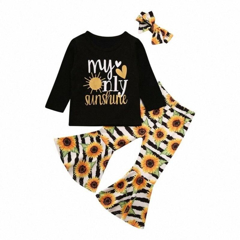 Boutique-Kind-Kleidung 3PCS Kleinkind-Kind-Baby-Kleidung Set-Top-Langarm-T-Shirt Hosen + Stirnband Outfits Anzug hUZ2 #