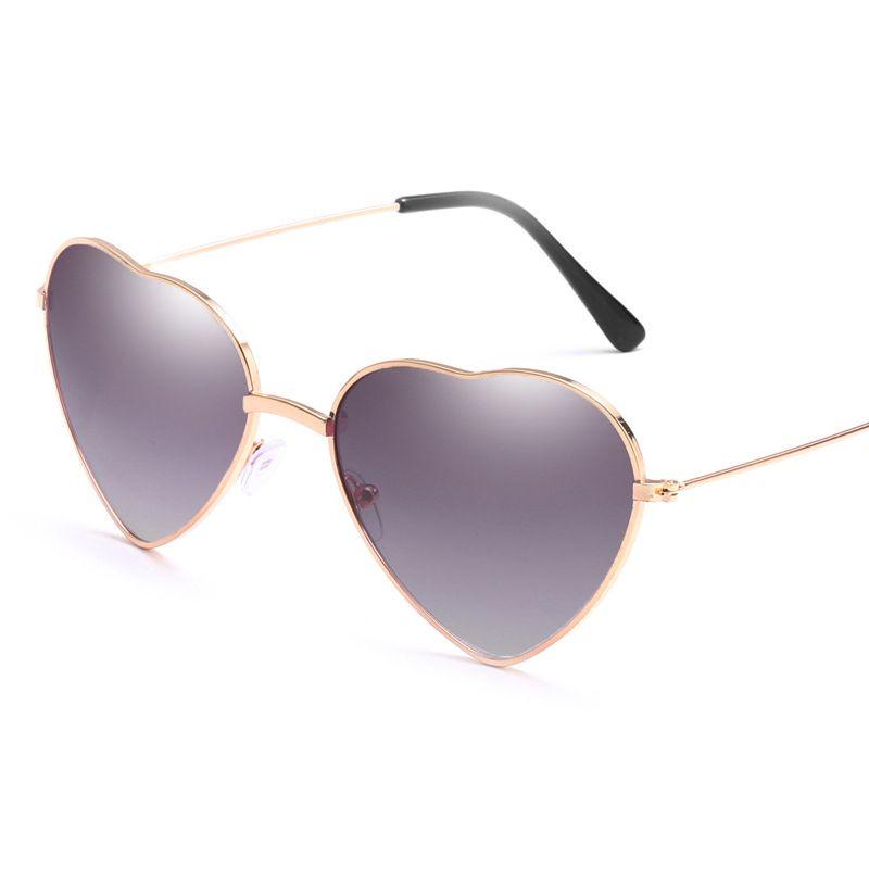 Neue Ankunfts-2020-Pfirsich-Herz-Sonnenbrille Frauen Männer Ozean Objektiv Weinlese-Metall Brillen Spiegel Retro Oculos De Sol Feminino