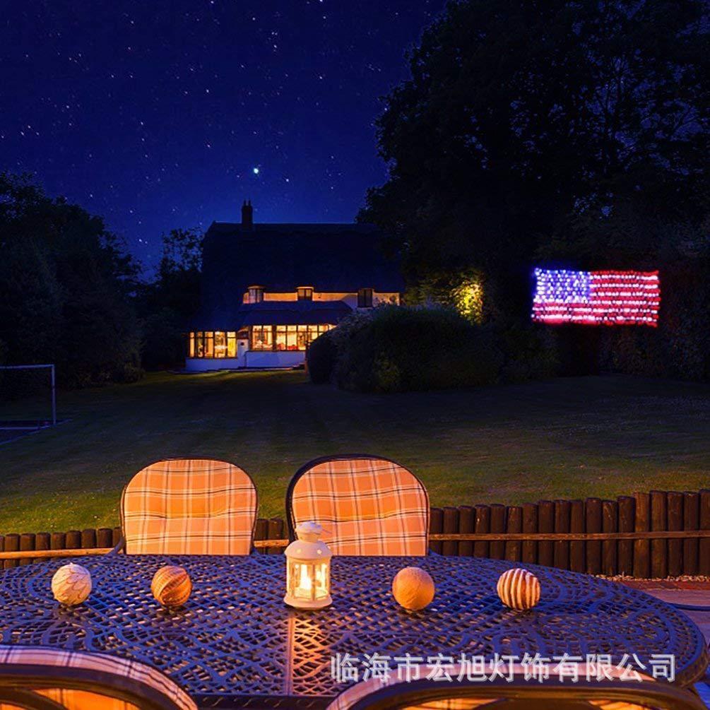 American Flag Led Light Net LED Natal Luz Lanterna decorativa Led Star Light Cordas Low Voltage Cortina Meteor Shower