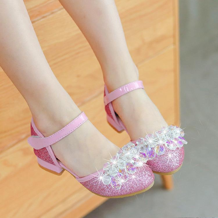 Crystal kids sandals leather shoes princess girls shoes kids sparkling wedding party
