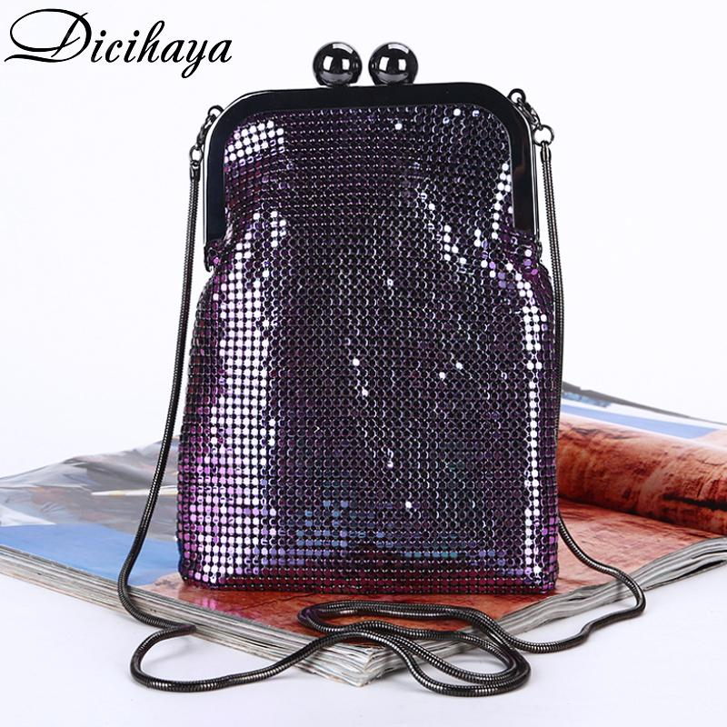 DICIHAYA iridiscencia de aluminio noche de las mujeres Señora bolsos de hombro de boda del teléfono para la cadena regalo del partido del bolso de embrague Q1113