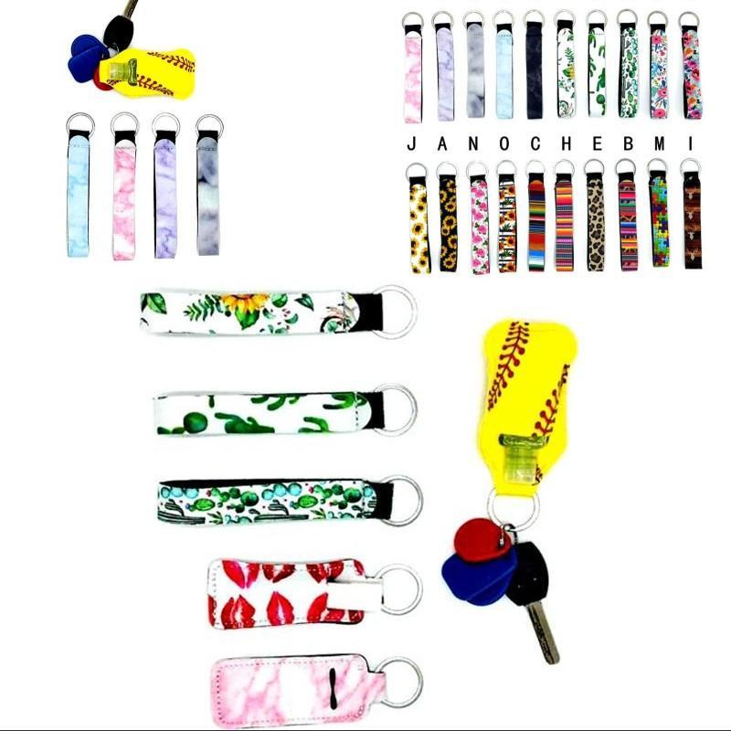 Leopard Keychains Neoprene Jigsaw Flowers Keyring Cute Lanyard Fashion Buckles Key Holder Car Charms Ornament Wristband Pendant 1 5jh C2