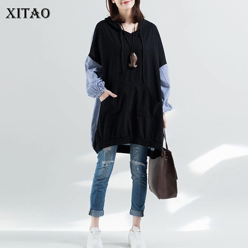 Xitao Plus Size plissadas Hoodies Mulheres pulôver Patchwork Autumn Longo selvagem Joker listrado elegantes de bolso com cordão WBB4473 201008