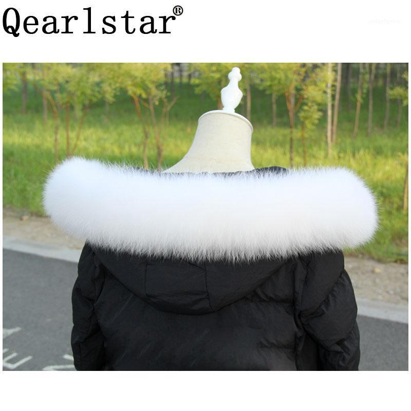 Qearlstar Real Меховой воротник 100% натуральный меховой шарф белый серый персик розовые выстраивания 70 / 75см унисекс высокое качество ZXX6881