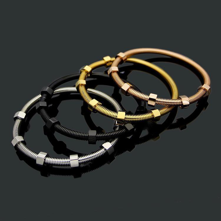 Tappi di modo caldo di vendita degli uomini Signora Titanio Acciaio sei vite placcato oro 18K amanti del braccialetto del 4 colori