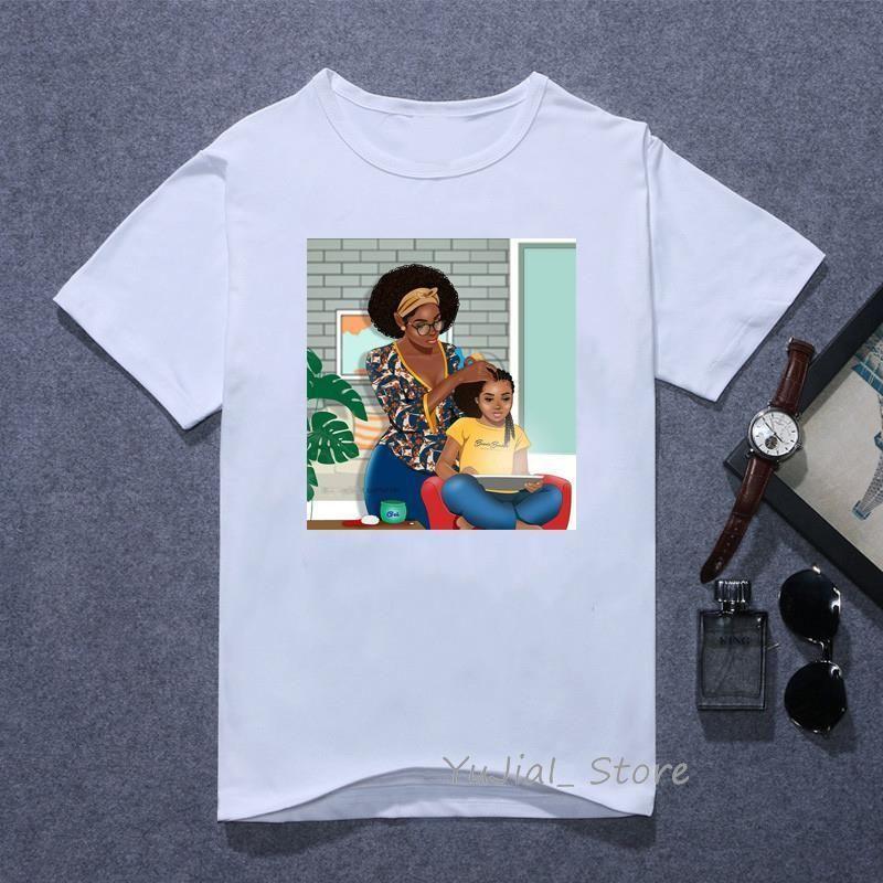 Рубашка Melanin Женщины Черная девушка Супер Мама футболка Femme Мама и дочь Детские печати Белая Vogue T Рубашка Kawaii Tops Летняя Одежда