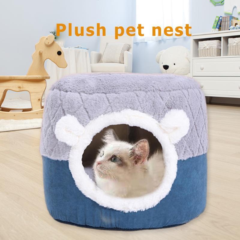 Katze Betthaus Weiche Kristall Samt Kennel Warme Nest Hunde Katzen Nest Haustier Schlafmatte Faltbare Waschbare Bett Hundehütte
