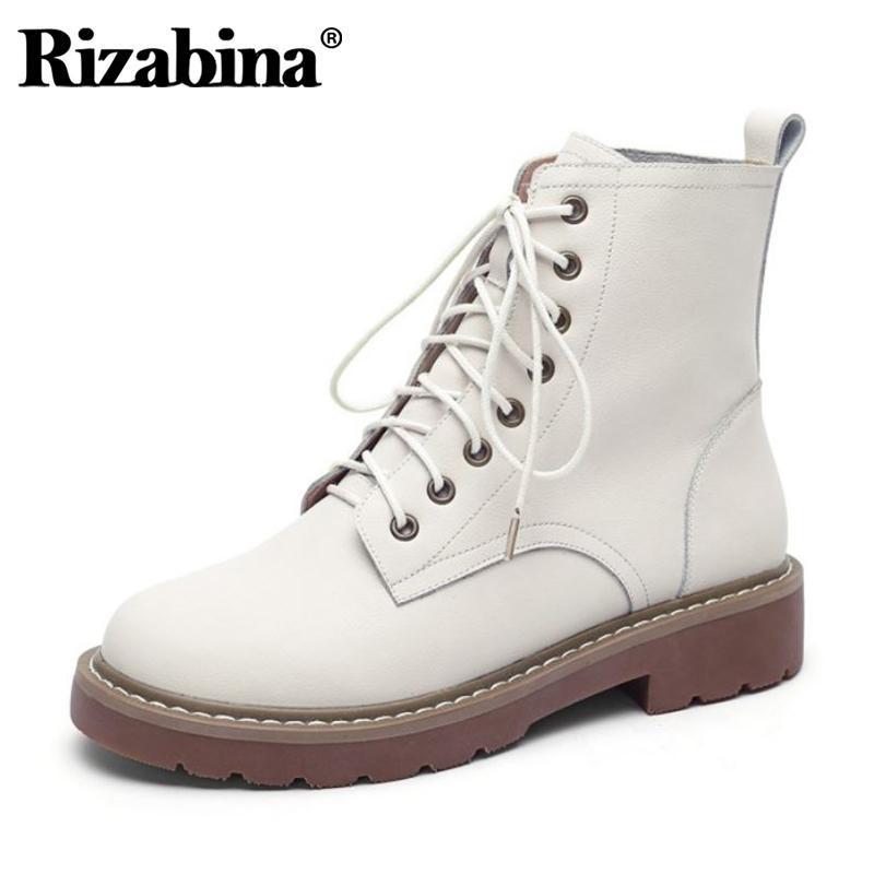 Rizabina Kadınlar Kısa Çizme Gerçek Deri Lace Up Kadın Bilek Boots Moda Günlük Kış Sonbahar Ayakkabı Kadın Ayakkabı Boyutu 34-41