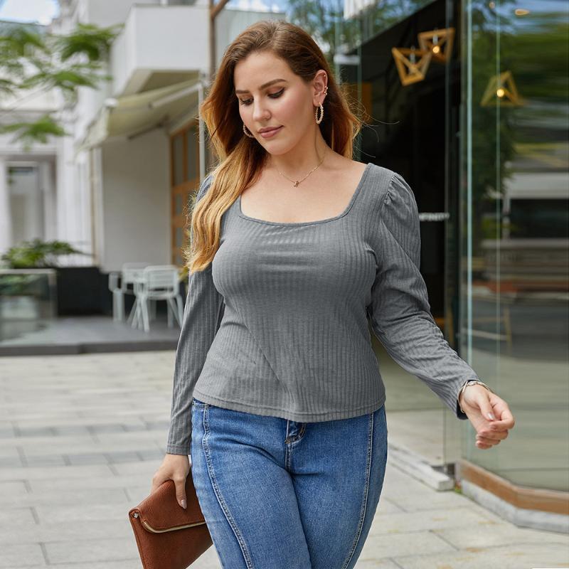 WHZHM manches longues T-shirt Femmes col carré Automne Slim Fit Plus Size 3XL 4XL Gris Vintage Hauts Casual T-shirt Feminina dames