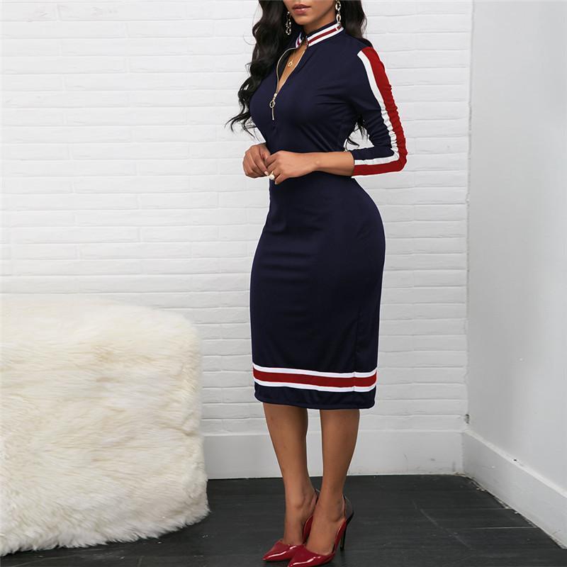 Primavera nova manga longa mulheres vestido casual esporte estilo vestido vintage zipper tarticareck list stripe cor correspondência esticar bodycon