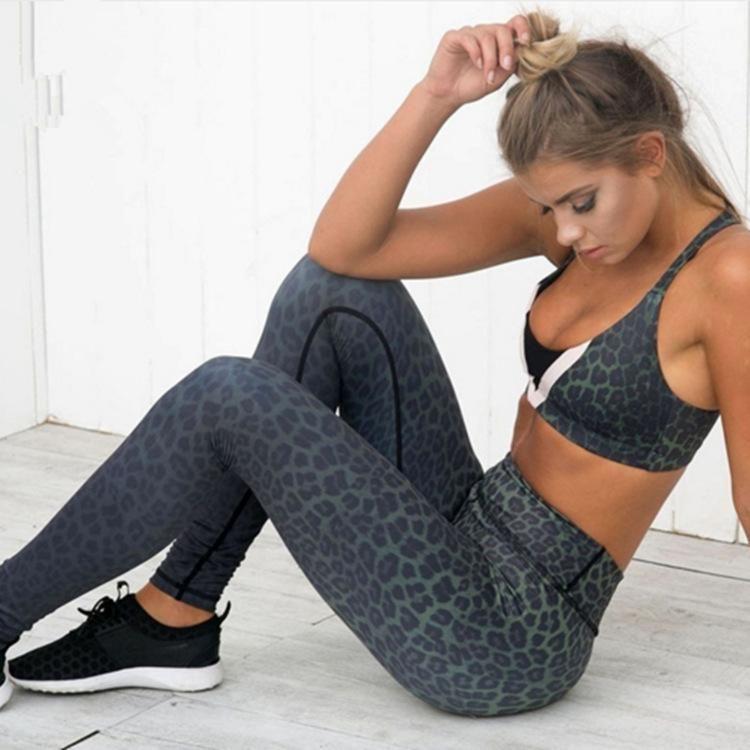 Leopard Print High Waist Hip Push Up Yoga Leggings Women High Elastic Slim Gym Workout Tight Pants Gym Leggings