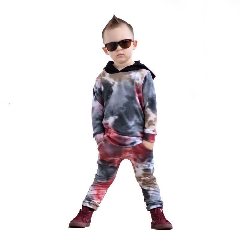 Trajes de niños 2021 New Kids Tracksuit Hoodie de manga larga + Pantalones Harem Pantalones 2 unids Niños Deportes Set Boys Ropa 1-6Y SM038