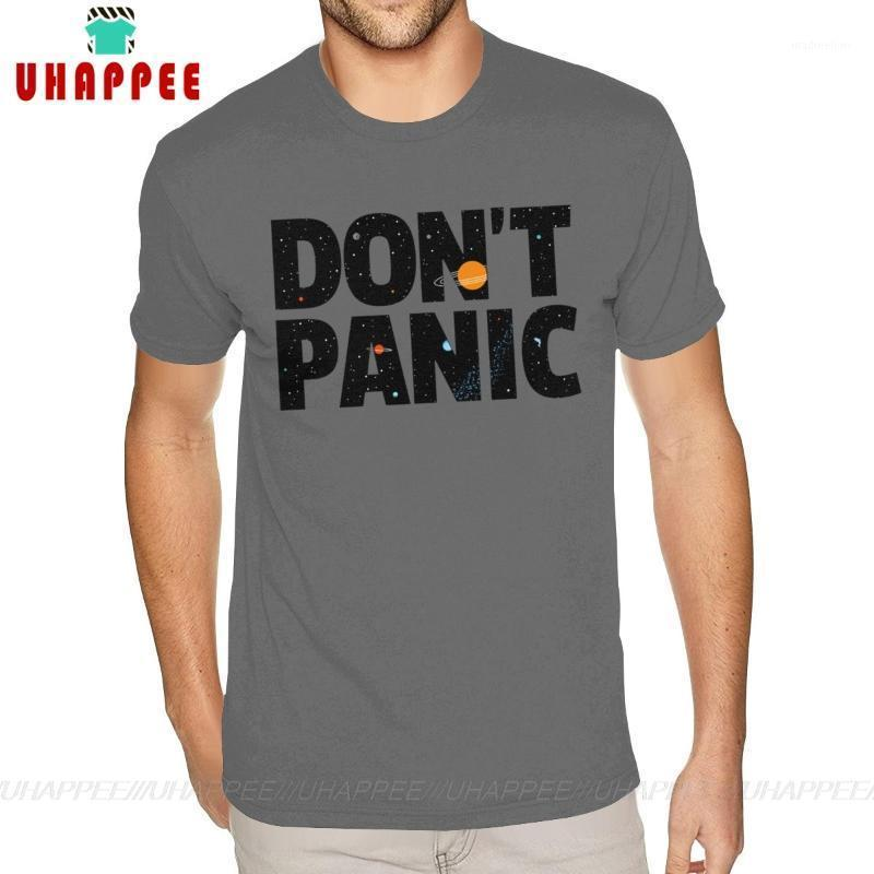 Pantalla de camisetas para hombres Impreso No Pánico Guía de autostopista a la galaxia algodón manga corta para hombre para hombre 5xl profundo Heather Tshir